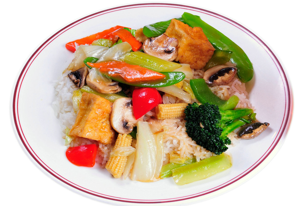 Mixed Vegetable and Tofu on Rice